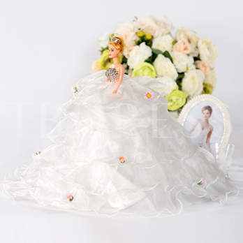 Pure White Floral Embellishments Wedding Barbie Doll