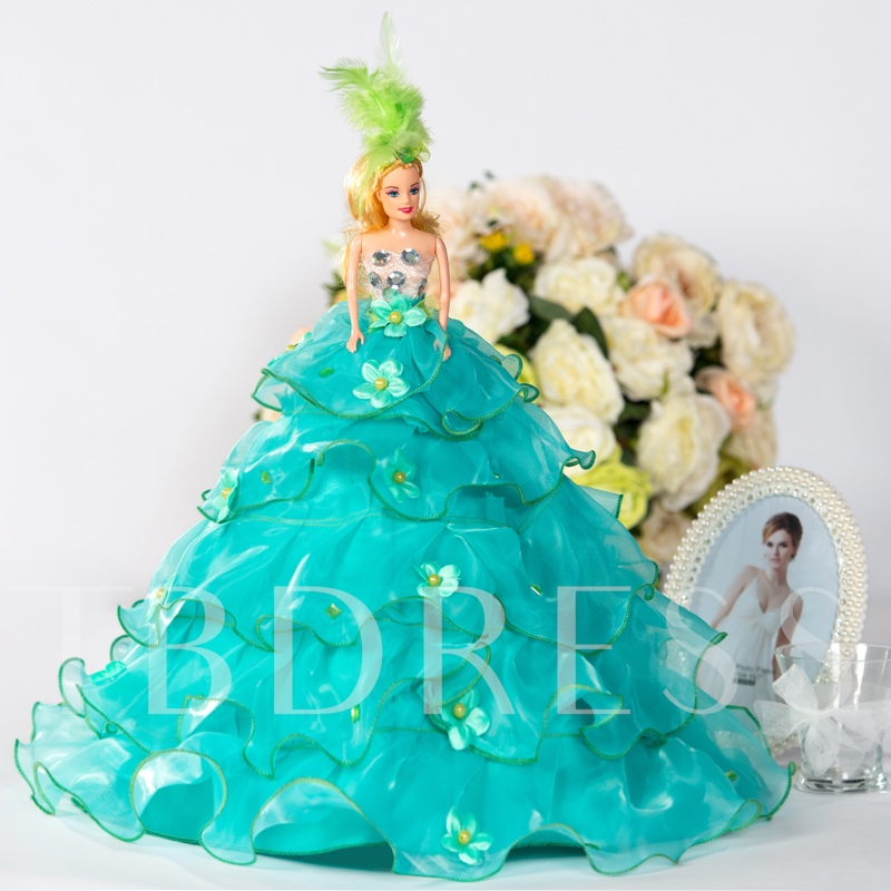 Green Organza Flower Embellishments Bridal Barbie Doll