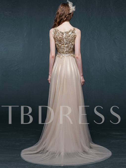 A-Line Scoop Neck Sequins Bow Court Train Evening Dress