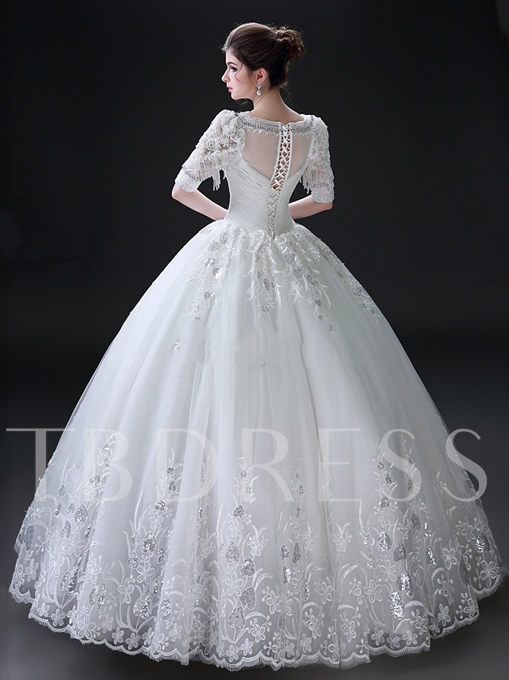 Classic Half Sleeves Ball Gown Floor-Length Lace Wedding Dress