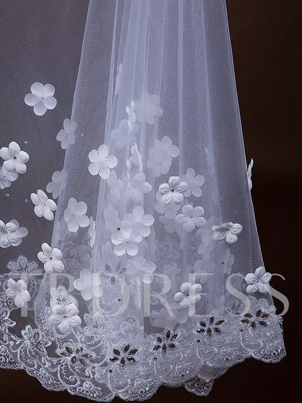 Floral Appliques Lace Edge Wedding Bridal Veil