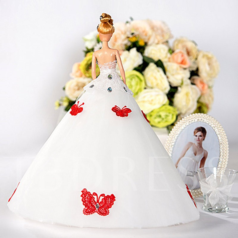 Red Butterflies White Wedding Barbie Doll