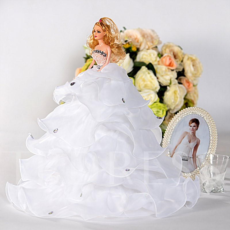 White Tiered Ruffles Wedding Barbie Doll