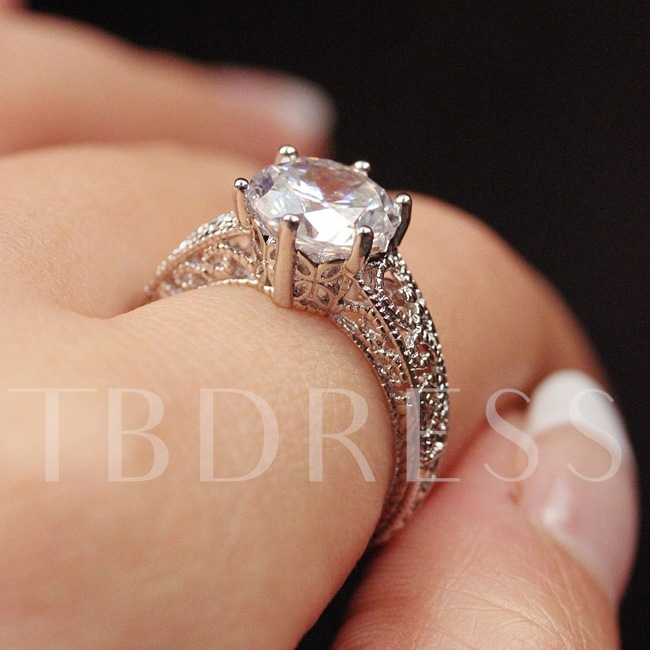 Hollow Out Zircon Female Ring