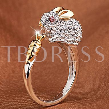 925 Silver Plated Platinum Rabbit Design Ring