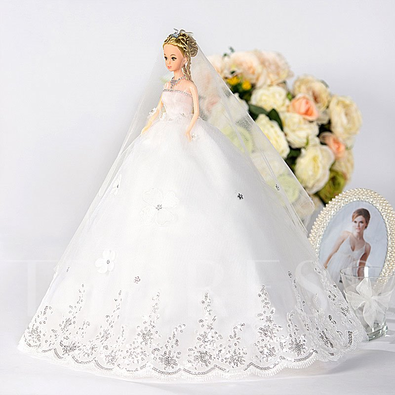 Sequins Tulle Wedding Barbie Doll Gift