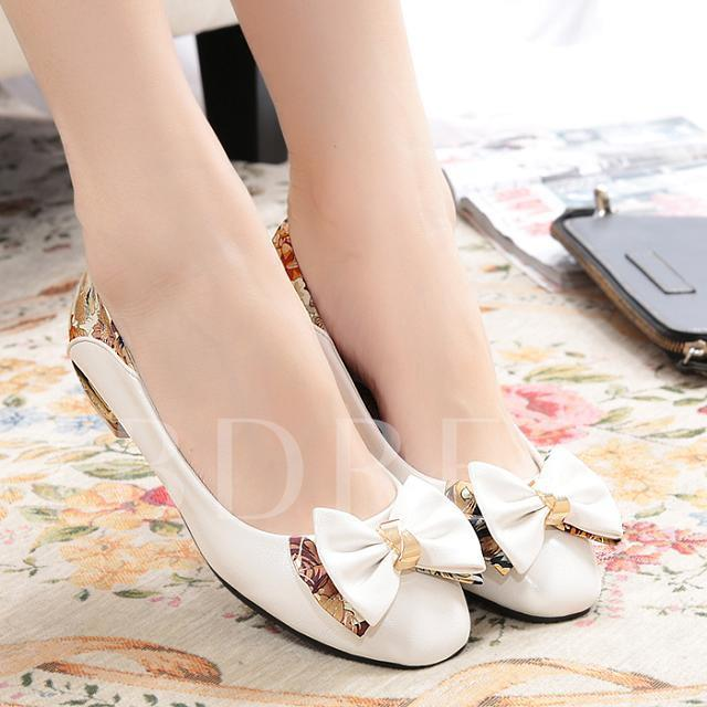 Bowtie Low Heel Round Toe Women's Flats