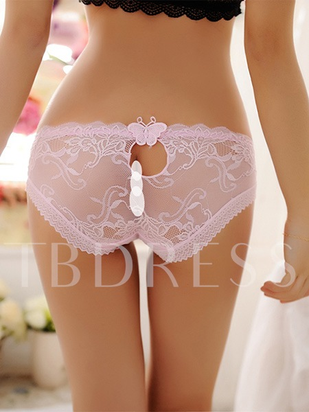 Floral Lace Fishing Net Hollow-out Women's Panty