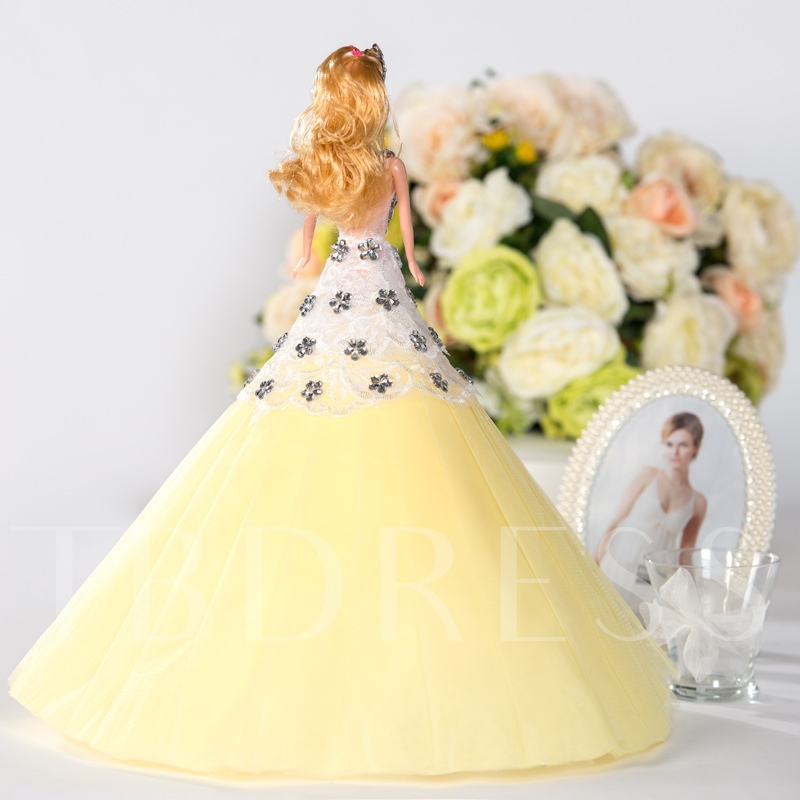 Yellow Tulle Beaded Princess Fashion Toy Wedding Barbie Doll Bride Gift