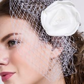 Ivory Wedding Bridal Hair Flower Face Veil