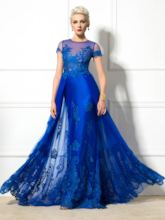 Jewel Neck Short Sleeve A-Line Appliques Evening Dress