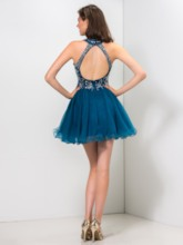 Open Back Beading Cocktail Dress