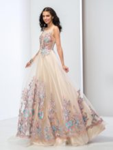 A-Line Square Neck Lace Floor-Length Prom Dress