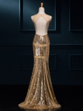 V-Neck Hollow Mermaid Sequins Floor-Length Evening Dress