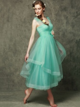 V-Neck Tea-Length Flowers Tulle Bridesmaid Dress