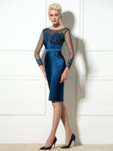 Sheath Bateau Neck Appliques Cocktail Dress