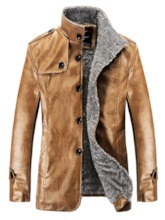 Stand Collar Shearling PU Men's Jacket