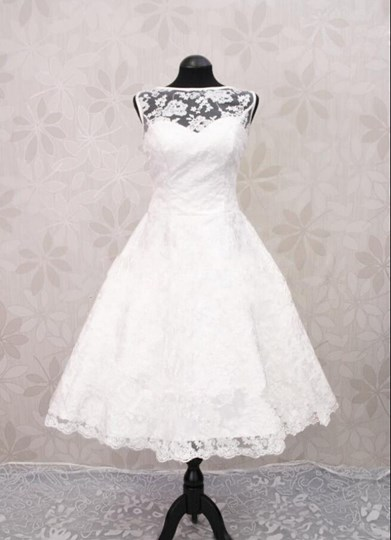 Bateau Neck Lace Beach Wedding Dress