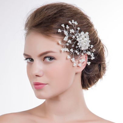 Pearls Wedding Hair Flowers