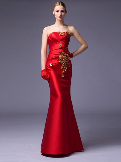 Strapless Mermaid Flowers Ruched Floor-Length Evening Dress