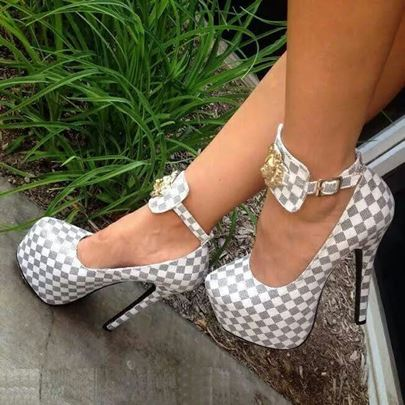 Checkered Buckle Platform Women's Banquet Pumps