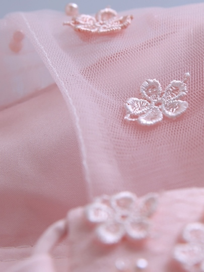 A-Line Round Neck Flowers Pearls Short Homecoming Dress