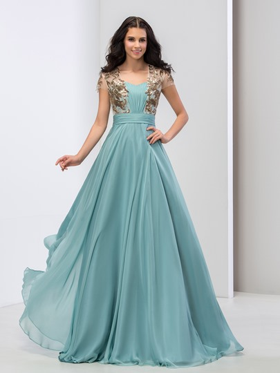 A-Line Square Neck Short Sleeve Appliques Floor-Length Prom Dress