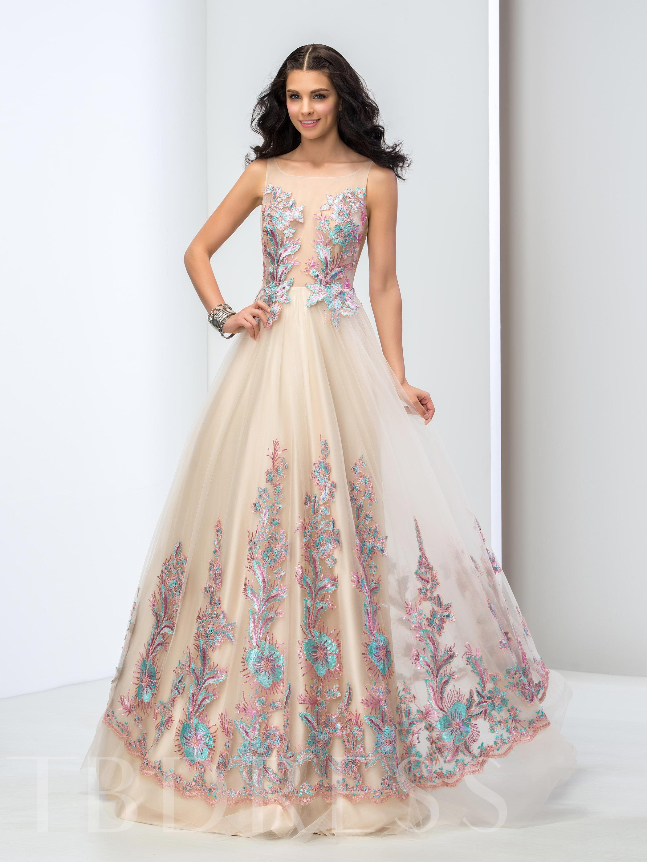 Image of A-Line Square Neck Lace Floor-Length Prom Dress