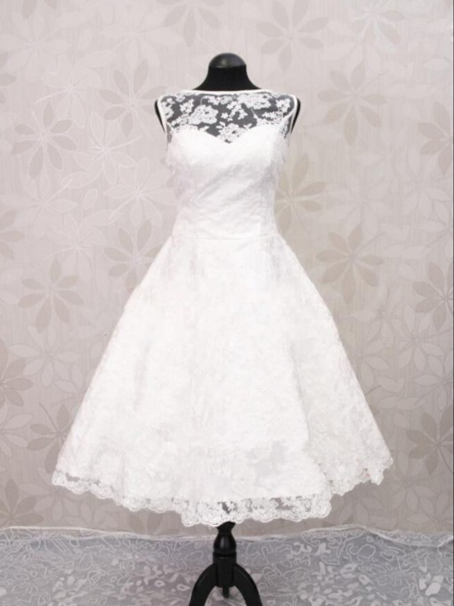 Bateau Neck Button Lace Beach Wedding Dress