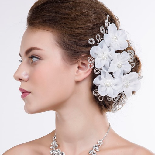 Pearls Big Wedding Hair Flower