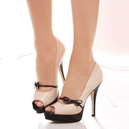 Slip-On Color Block Peep Toe Stiletto Heel Women's Pumps