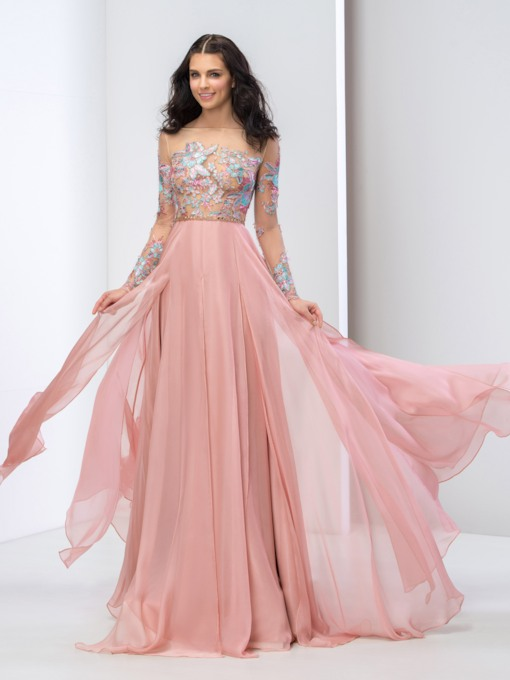 Appliques Beading Long Sleeves Prom Dress
