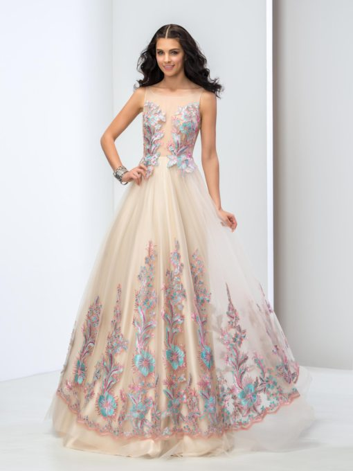 Illusion Neck Floral Appliques Prom Dress