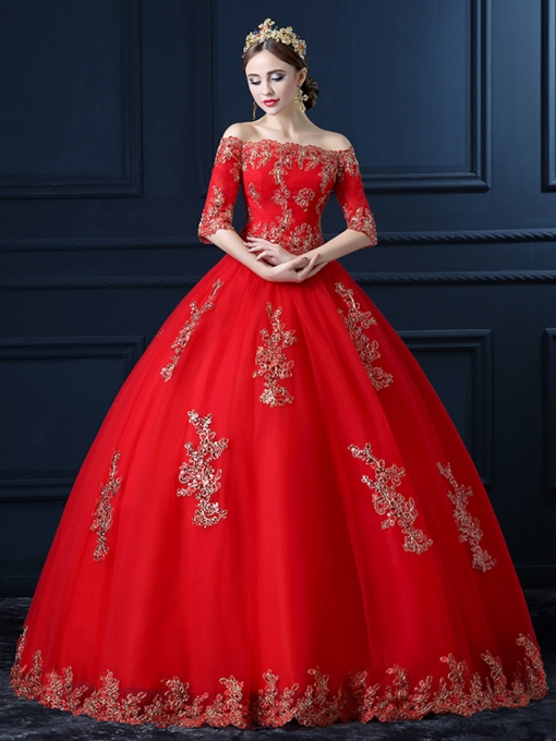 Half Sleeve Appliques Ball Gown Red Wedding Dress