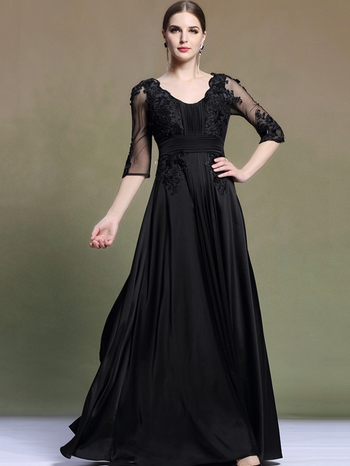 3/4 Length Sleeve A-Line Round Neck Pleats Appliques Evening Dress