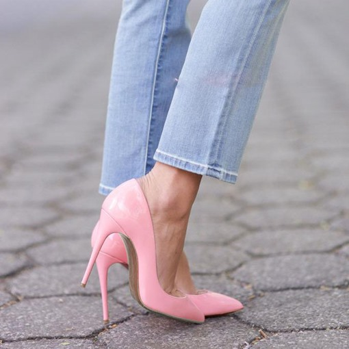 Slip-on Pink Pointed Toe Stiletto Heel Women's Pumps (Plus Size Available)