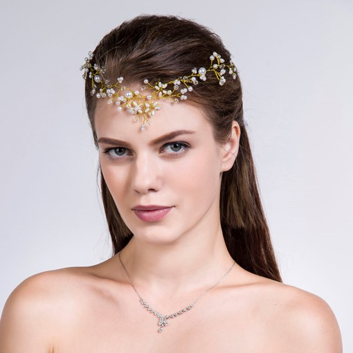 Alloy with Pearls Satin Bridal Headband