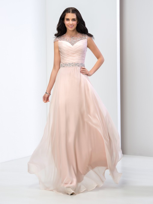 Jewel Neck A-Line Beaded Ruched Floor-Length Prom Dress