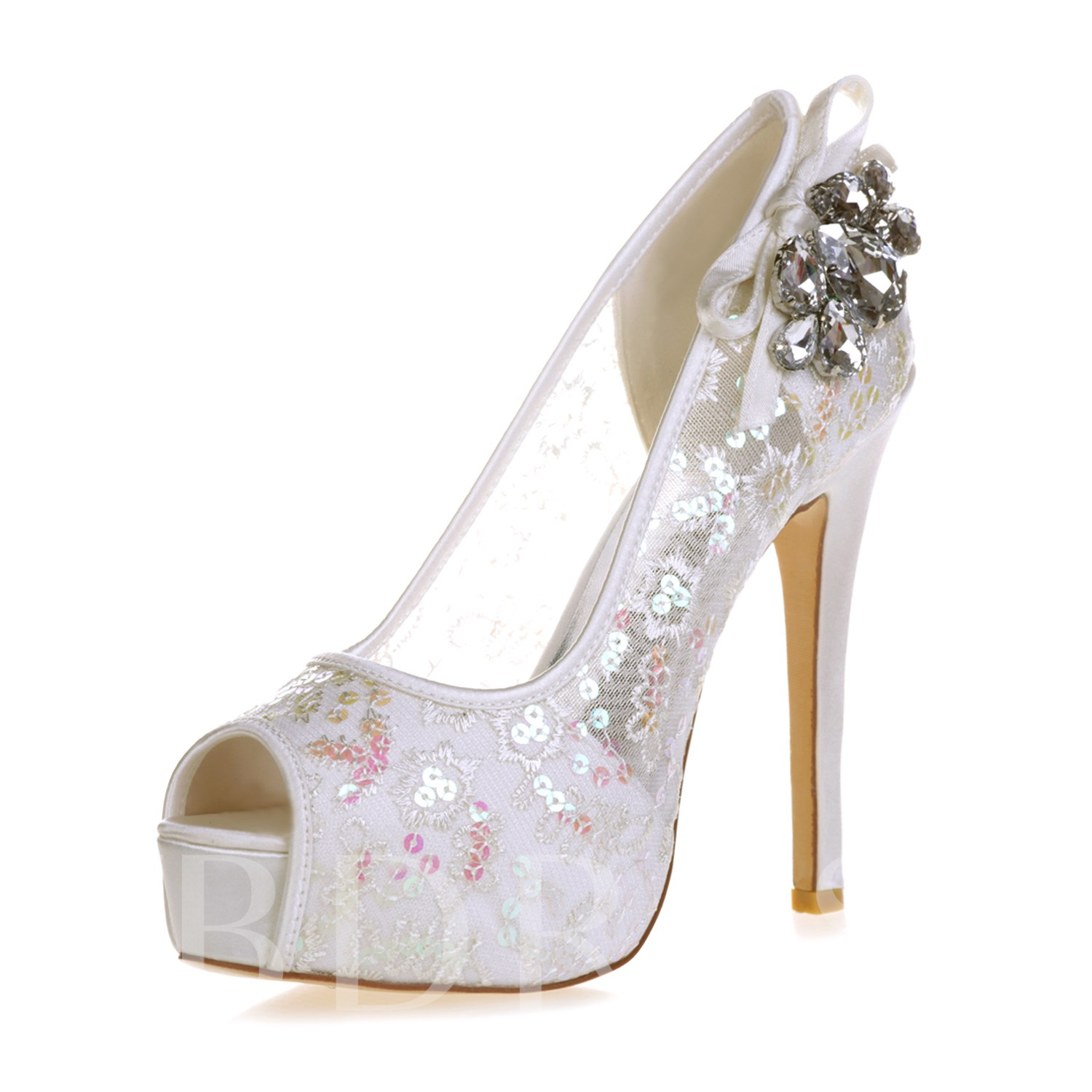 Rhinestone Lace Fancy Women's Wedding Sandals (Plus Size Available)