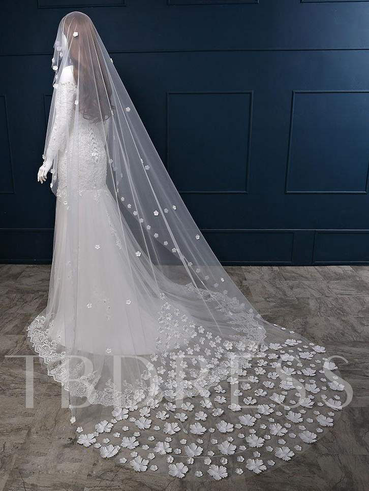 Flowers Tulle Chapel Wedding Veil