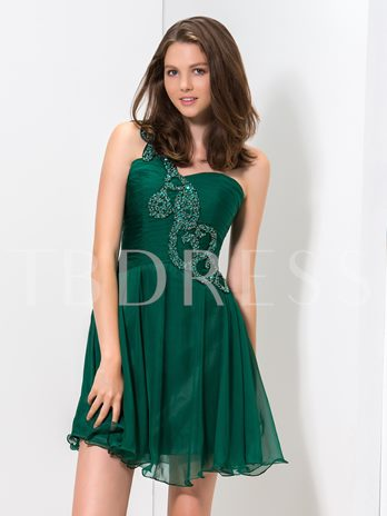 One-Shoulder A-Line Ruched Beadings Short Homecoming Dress