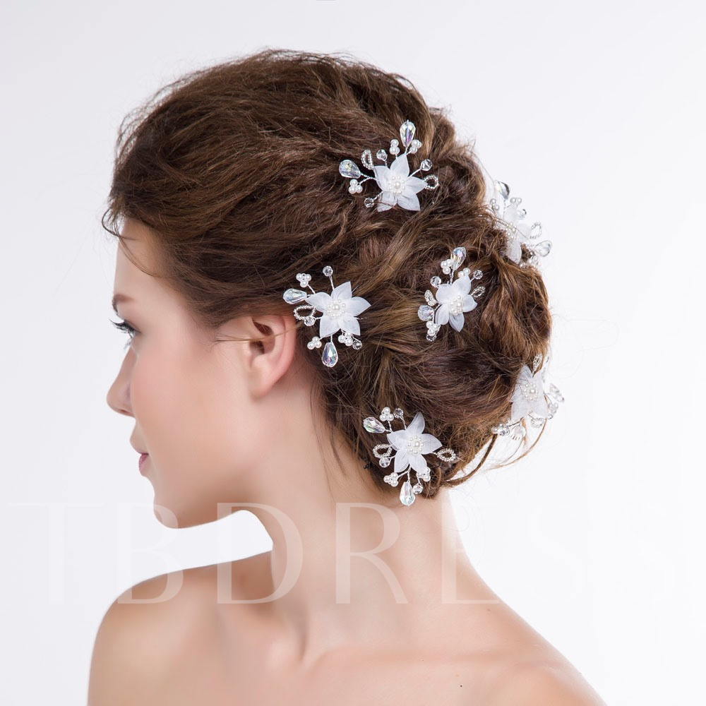 Beading Flowers Bridal Hairpins (Three Pairs)