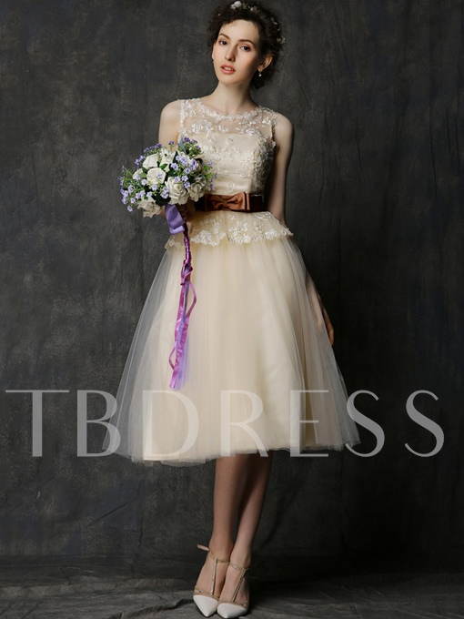 Scoop Tea-Length Lace Tulle Short Bridesmaid Dress