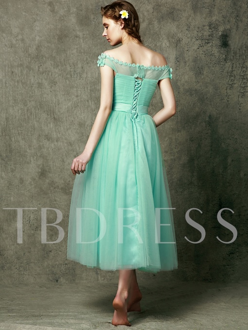 New Style Off-The-Shoulder Tea-Length Flower Bridesmaid Dress