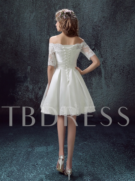 Off-the-Shoulder A-Line Lace Short Sleeve Homecoming Dress
