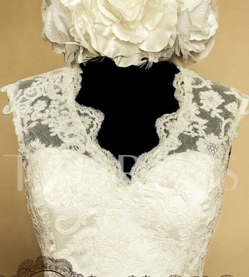 Open Back Short Lace Beach Wedding Dress