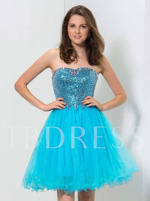 A-Line Sweetheart Sequins Lace-Up Homecoming Dress