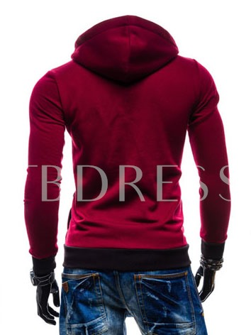 Hooded Patchwork Contrast Color Full Zip Slim Fit Men's Casual Hoodie