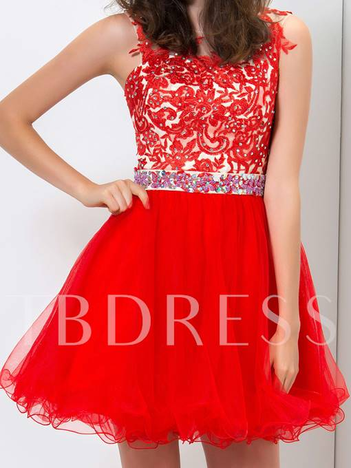 A-Line Sashes Scoop Neck Appliques Beadings Mini Homecoming Dress