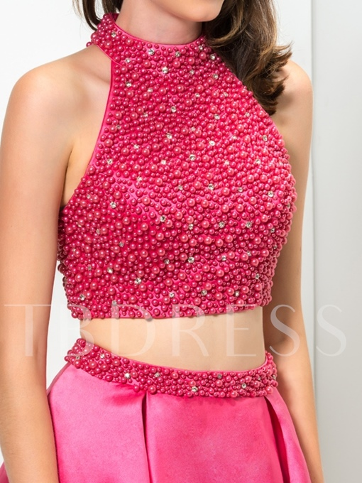 Two Pieces High Neck Pearls Beaded Short Homecoming Dress